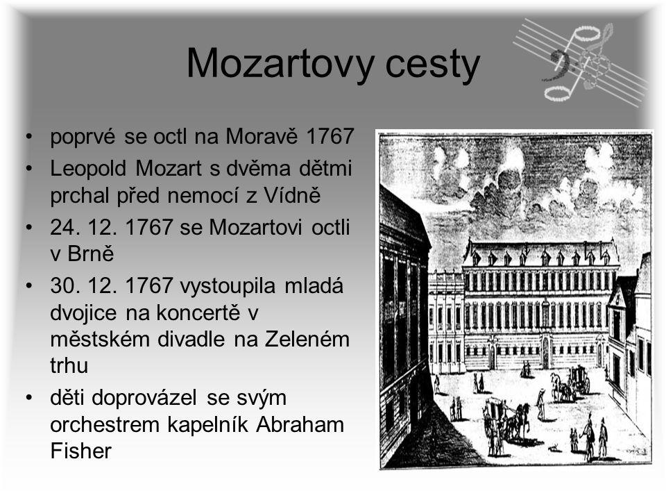 Mozartovy cesty poprvé se octl na Moravě 1767 Leopold Mozart s dvěma dětmi prchal před nemocí z Vídně 24. 12. 1767 se Mozartovi octli v Brně 30. 12. 1