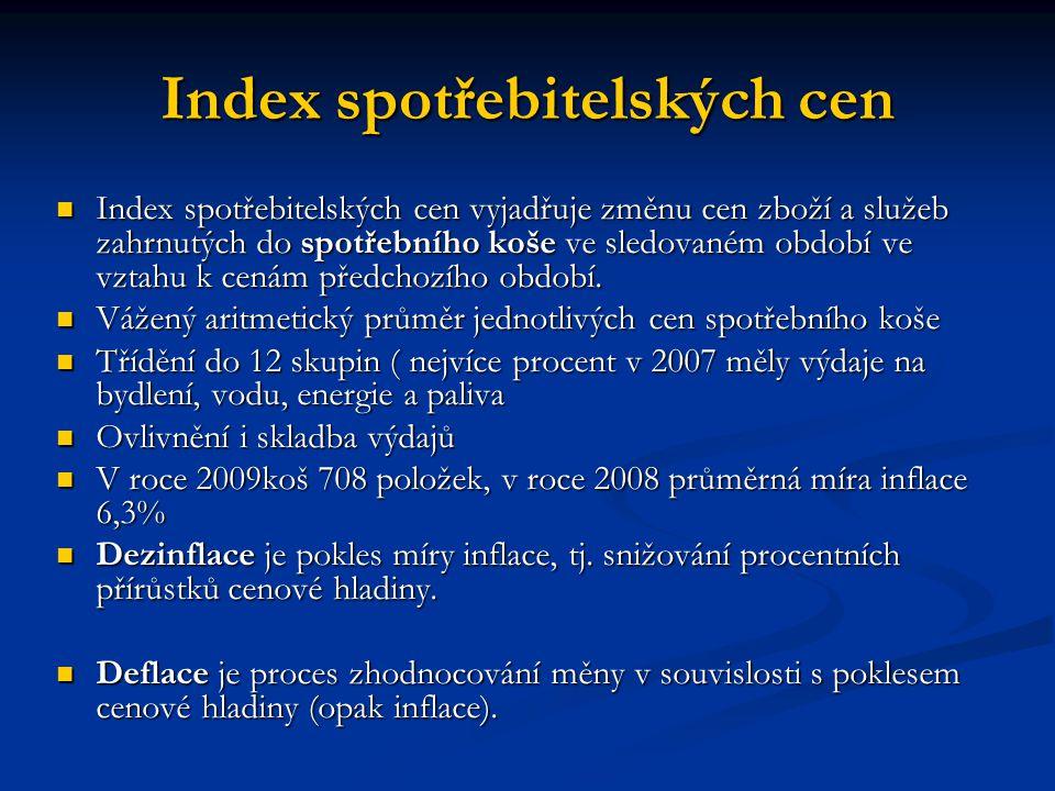 Harmonizovaný index spotřebitelských cen Použití pro měření inflace v zemích EU a při hodnocení Maastrichtských konvergenčních kritérií Použití pro měření inflace v zemích EU a při hodnocení Maastrichtských konvergenčních kritérií Konstruován podobně jako CPI Konstruován podobně jako CPI P t =( ∑p i t.q i 0 / ∑p 0 i q 0 i ).100 P t =( ∑p i t.q i 0 / ∑p 0 i q 0 i ).100