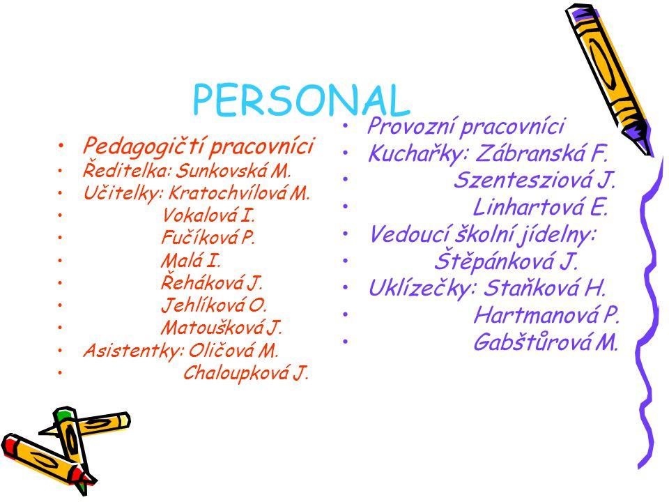PERSONAL Pedagogičtí pracovníci Ředitelka: Sunkovská M.
