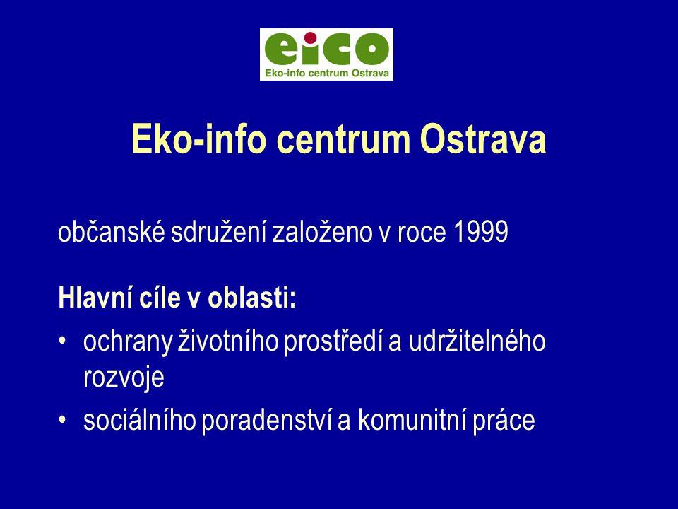 Eko-info centrum Ostrava občanské sdružení založeno v roce 1999 Hlavní cíle v oblasti: ochrany životního prostředí a udržitelného rozvoje sociálního poradenství a komunitní práce