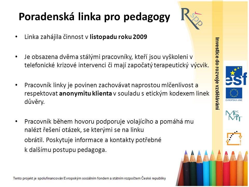Poradenská linka pro pedagogy Linka zahájila činnost v listopadu roku 2009 Je obsazena dvěma stálými pracovníky, kteří jsou vyškoleni v telefonické kr
