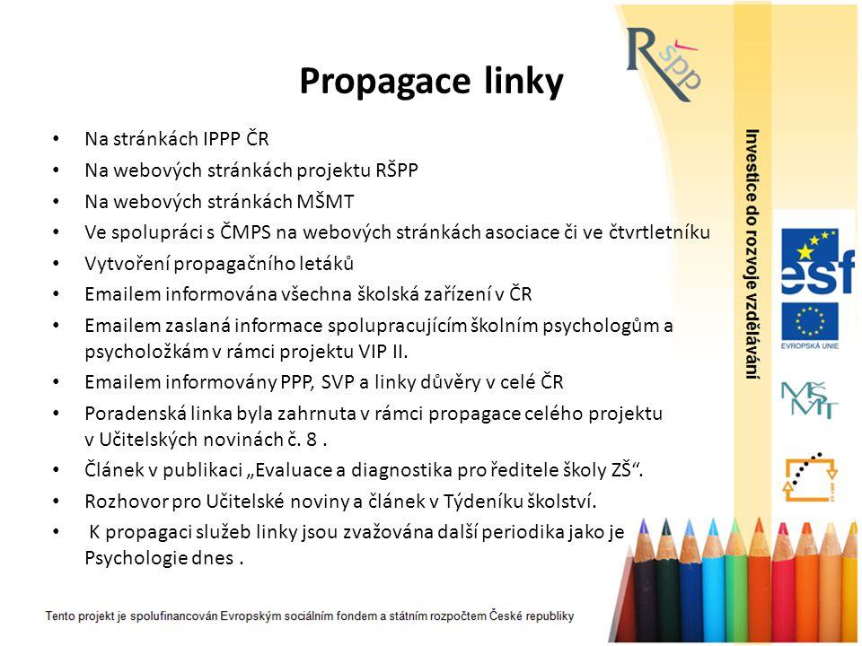 Propagace linky Na stránkách IPPP ČR Na webových stránkách projektu RŠPP Na webových stránkách MŠMT Ve spolupráci s ČMPS na webových stránkách asociac
