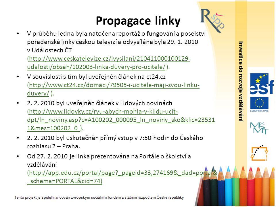 Propagace linky V průběhu ledna byla natočena reportáž o fungování a poselství poradenské linky českou televizí a odvysílána byla 29. 1. 2010 v Událos