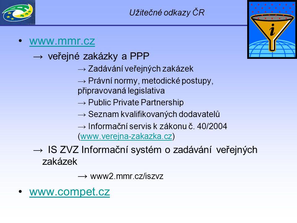 Užitečné odkazy ČR www.mmr.cz → veřejné zakázky a PPP → Zadávání veřejných zakázek → Právní normy, metodické postupy, připravovaná legislativa → Publi
