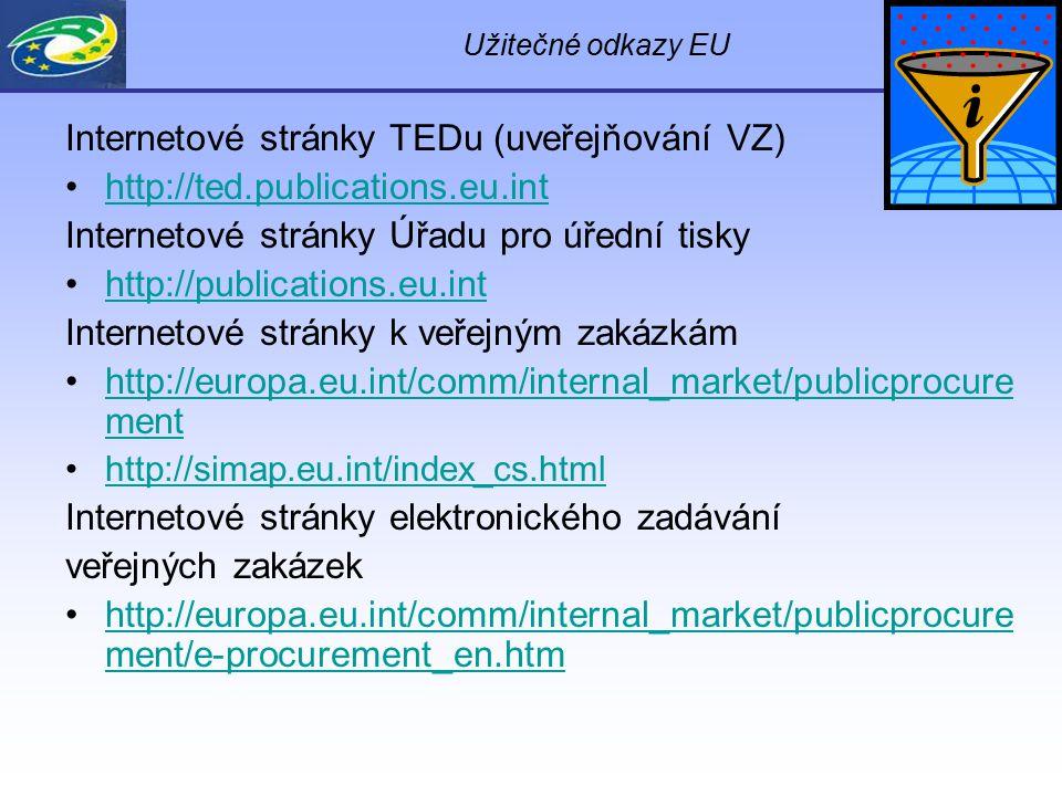 Užitečné odkazy EU Internetové stránky TEDu (uveřejňování VZ) http://ted.publications.eu.int Internetové stránky Úřadu pro úřední tisky http://publica