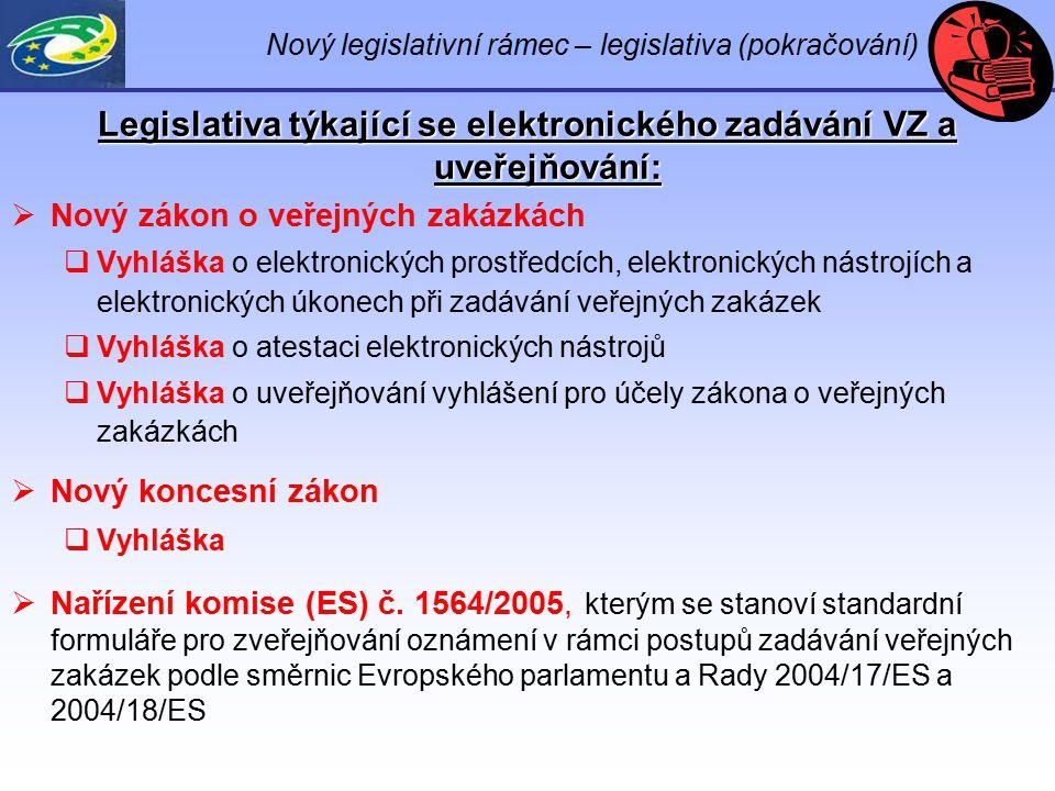 Nový legislativní rámec – legislativa (pokračování) Legislativa týkající se elektronického zadávání VZ a uveřejňování:  Nový zákon o veřejných zakázk