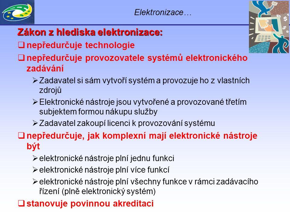 Zákon z hlediska elektronizace:  nepředurčuje technologie  nepředurčuje provozovatele systémů elektronického zadávání  Zadavatel si sám vytvoří sys
