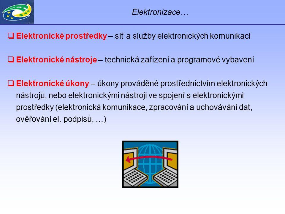 Elektronizace…  Elektronické prostředky – síť a služby elektronických komunikací  Elektronické nástroje – technická zařízení a programové vybavení 