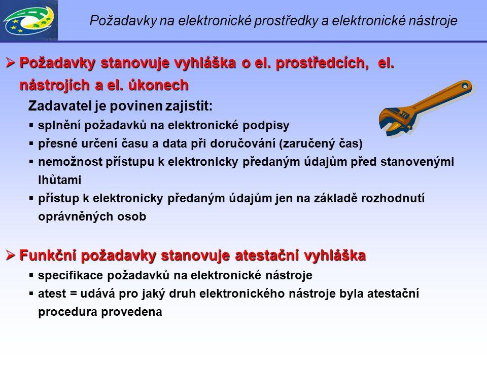 Požadavky na elektronické prostředky a elektronické nástroje  Požadavky stanovuje vyhláška o el. prostředcích, el. nástrojích a el. úkonech Zadavatel