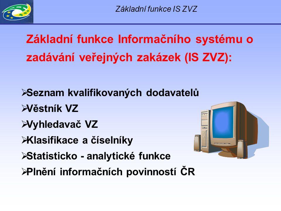 Základní funkce Informačního systému o zadávání veřejných zakázek (IS ZVZ):  Seznam kvalifikovaných dodavatelů  Věstník VZ  Vyhledavač VZ  Klasifi