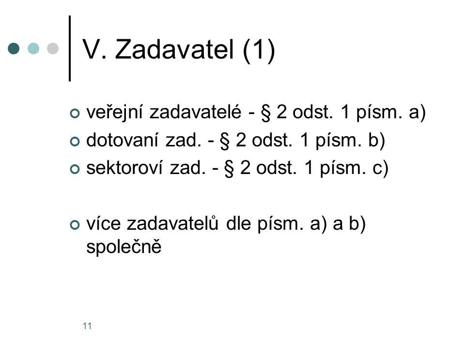 11 V. Zadavatel (1) veřejní zadavatelé - § 2 odst. 1 písm. a) dotovaní zad. - § 2 odst. 1 písm. b) sektoroví zad. - § 2 odst. 1 písm. c) více zadavate