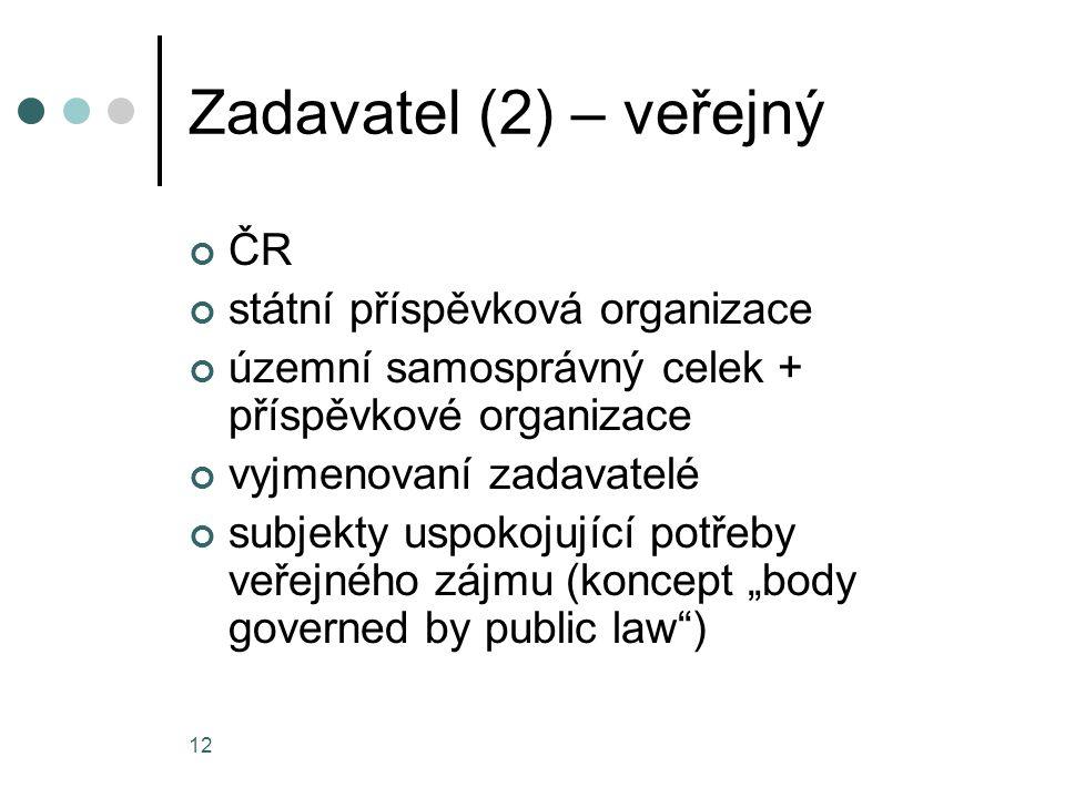 12 Zadavatel (2) – veřejný ČR státní příspěvková organizace územní samosprávný celek + příspěvkové organizace vyjmenovaní zadavatelé subjekty uspokoju