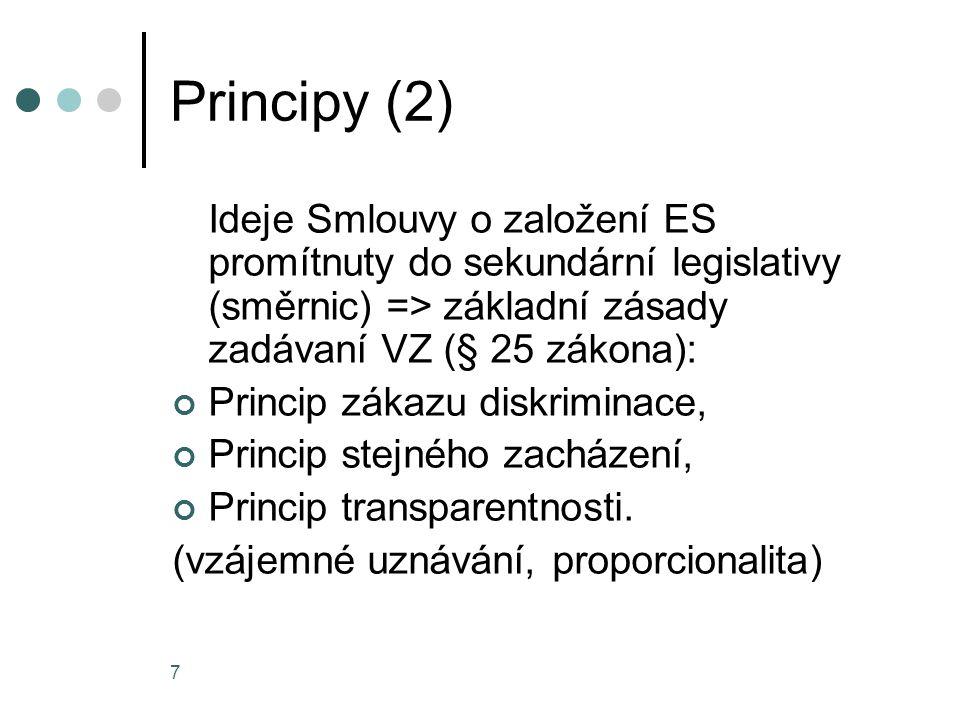 7 Principy (2) Ideje Smlouvy o založení ES promítnuty do sekundární legislativy (směrnic) => základní zásady zadávaní VZ (§ 25 zákona): Princip zákazu