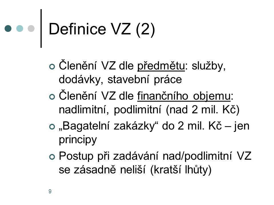 """9 Definice VZ (2) Členění VZ dle předmětu: služby, dodávky, stavební práce Členění VZ dle finančního objemu: nadlimitní, podlimitní (nad 2 mil. Kč) """"B"""