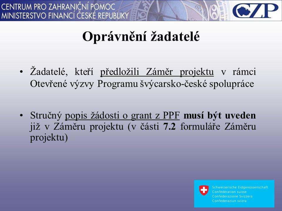 Oprávnění žadatelé Žadatelé, kteří předložili Záměr projektu v rámci Otevřené výzvy Programu švýcarsko-české spolupráce Stručný popis žádosti o grant z PPF musí být uveden již v Záměru projektu (v části 7.2 formuláře Záměru projektu)