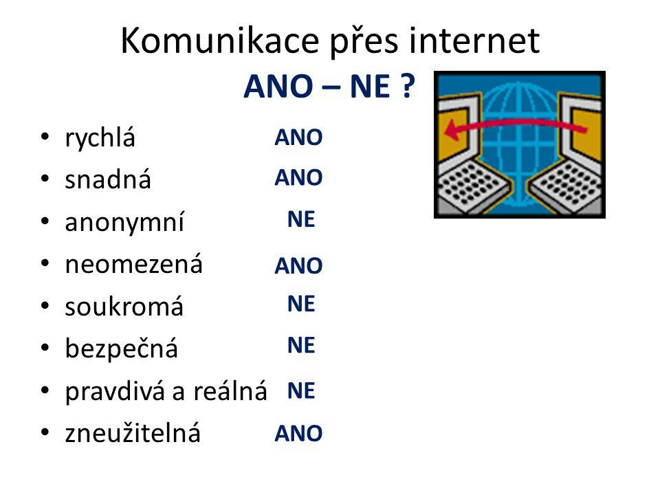 Komunikace přes internet ANO – NE .