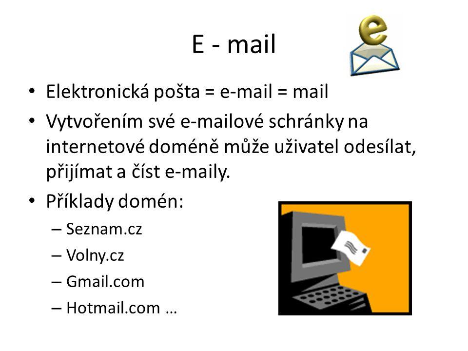 E - mail Elektronická pošta = e-mail = mail Vytvořením své e-mailové schránky na internetové doméně může uživatel odesílat, přijímat a číst e-maily.