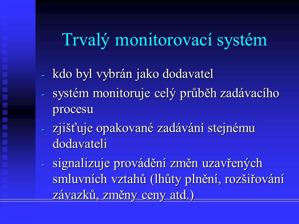 - kdo byl vybrán jako dodavatel - systém monitoruje celý průběh zadávacího procesu - zjišťuje opakované zadávání stejnému dodavateli - signalizuje pro