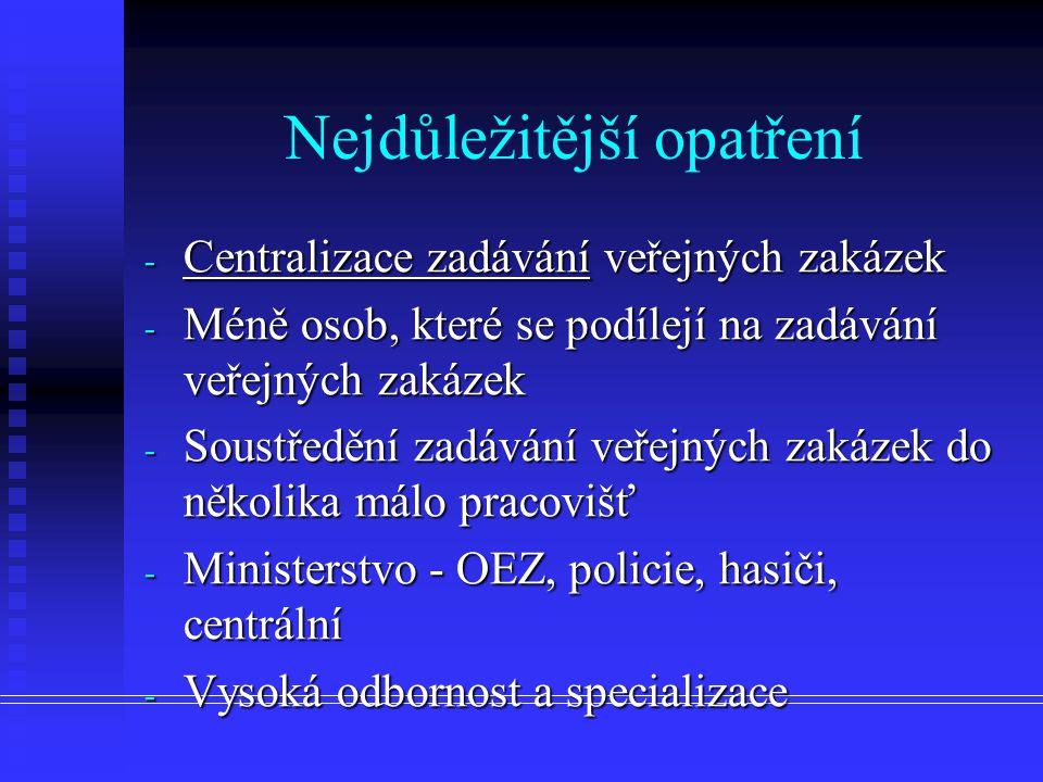 Nejdůležitější opatření - Centralizace zadávání veřejných zakázek - Méně osob, které se podílejí na zadávání veřejných zakázek - Soustředění zadávání veřejných zakázek do několika málo pracovišť - Ministerstvo - OEZ, policie, hasiči, centrální - Vysoká odbornost a specializace