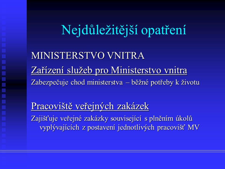Nejdůležitější opatření MINISTERSTVO VNITRA Zařízení služeb pro Ministerstvo vnitra Zabezpečuje chod ministerstva – běžné potřeby k životu Pracoviště