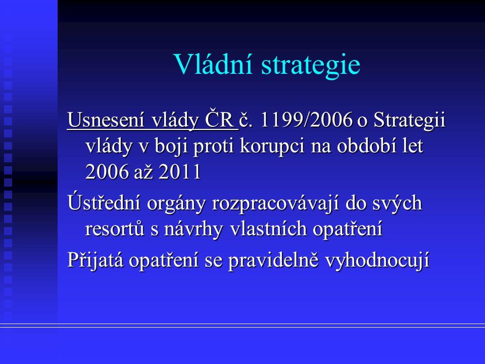 Vládní strategie Usnesení vlády ČR č.