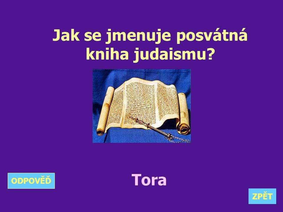 Jak se jmenuje posvátná kniha judaismu? Tora ZPĚT ODPOVĚĎ