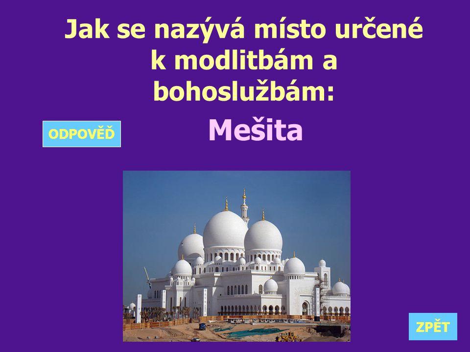 Jak se nazývá místo určené k modlitbám a bohoslužbám: Mešita ZPĚT ODPOVĚĎ