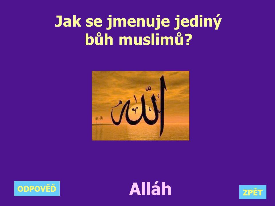 Jak se jmenuje jediný bůh muslimů? Alláh ZPĚT ODPOVĚĎ