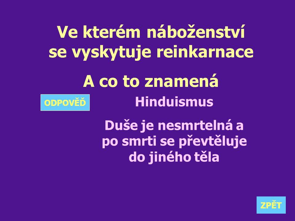 Ve kterém náboženství se vyskytuje reinkarnace A co to znamená Hinduismus Duše je nesmrtelná a po smrti se převtěluje do jiného těla ZPĚT ODPOVĚĎ