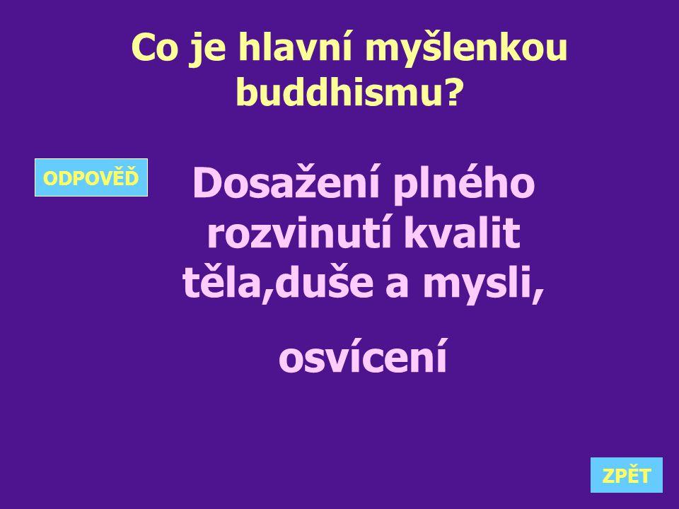 Co je hlavní myšlenkou buddhismu? Dosažení plného rozvinutí kvalit těla,duše a mysli, osvícení ZPĚT ODPOVĚĎ