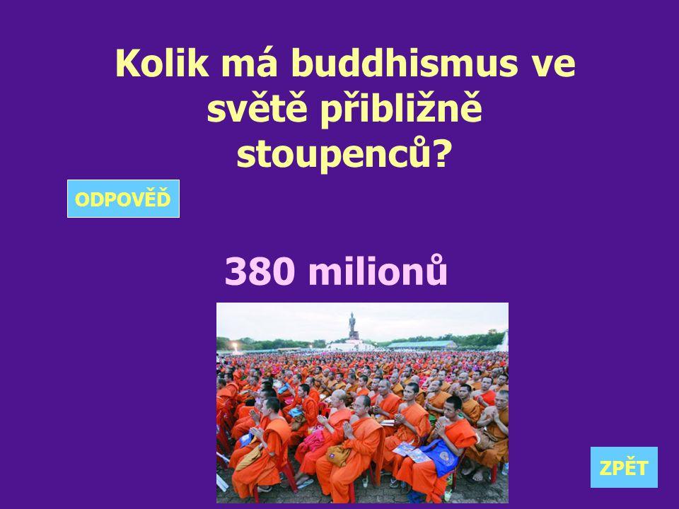Kolik má buddhismus ve světě přibližně stoupenců? 380 milionů ZPĚT ODPOVĚĎ