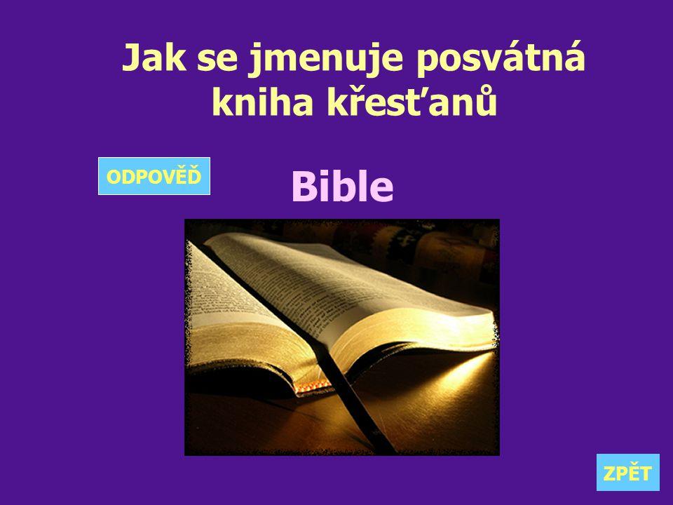 Jak se jmenuje posvátná kniha křesťanů Bible ZPĚT ODPOVĚĎ