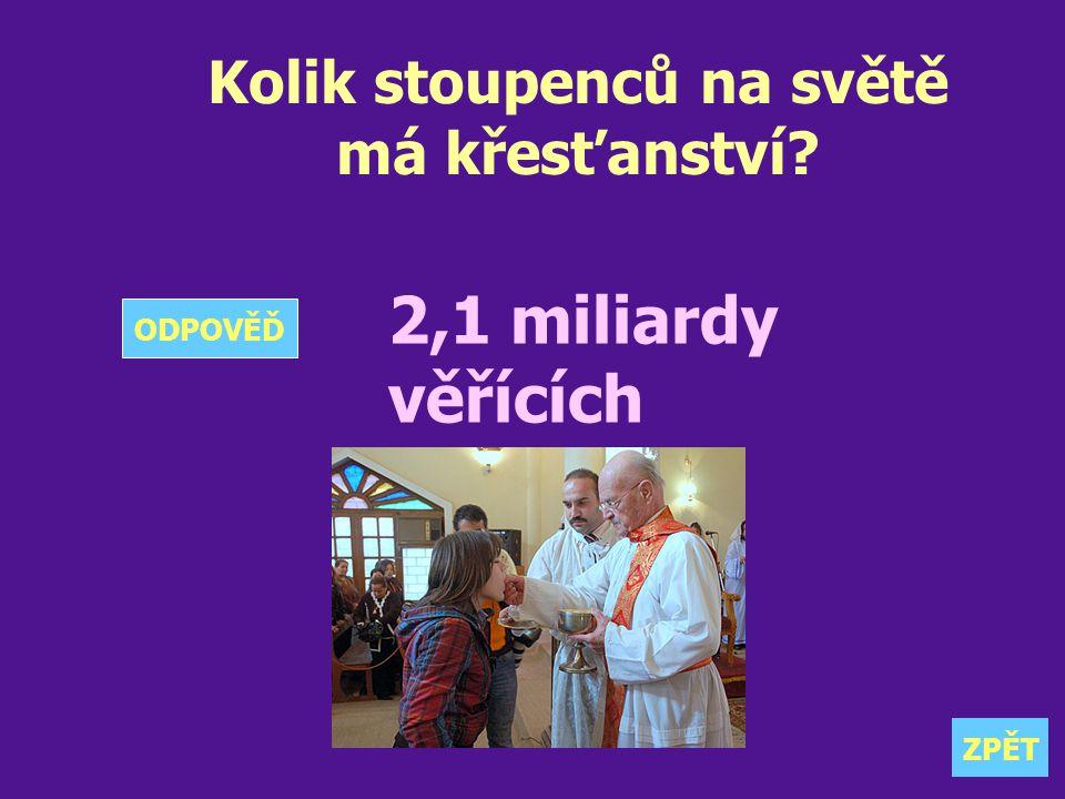 Kolik stoupenců na světě má křesťanství? 2,1 miliardy věřících ZPĚT ODPOVĚĎ