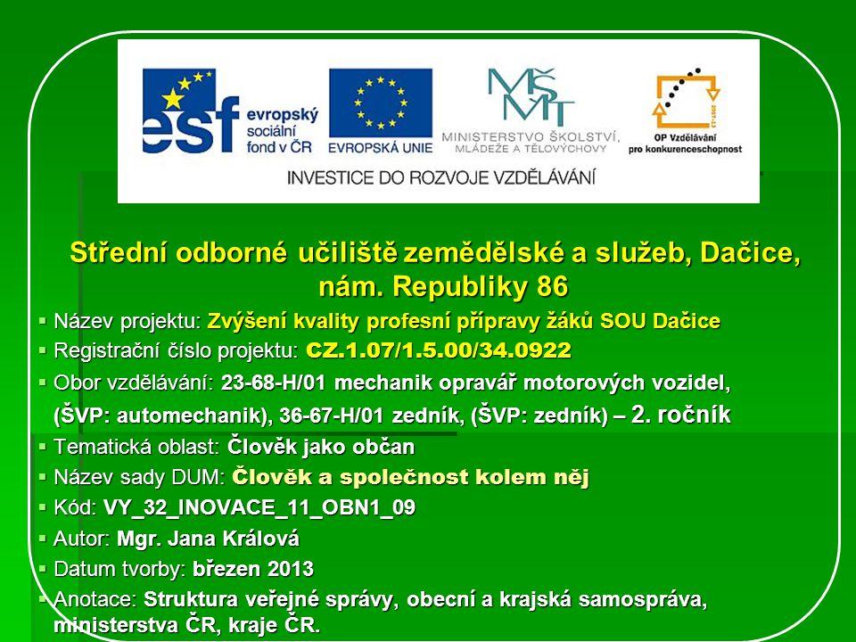 Střední odborné učiliště zemědělské a služeb, Dačice, nám.