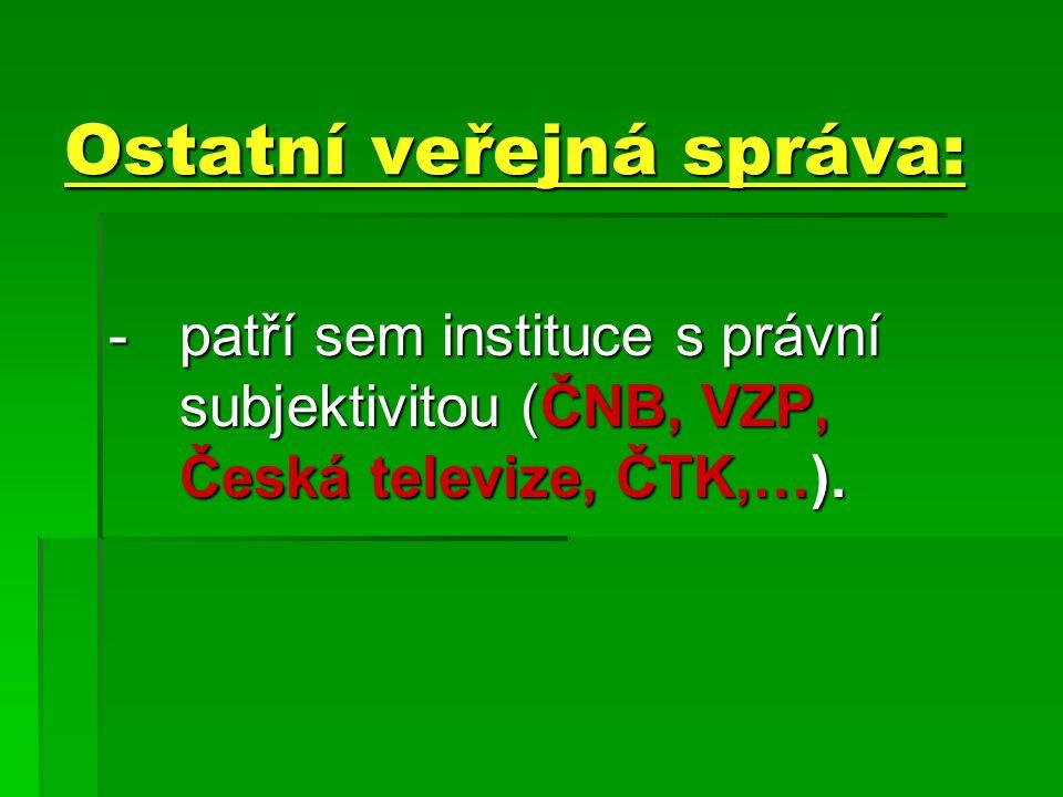 Ostatní veřejná správa: -patří sem instituce s právní subjektivitou (ČNB, VZP, Česká televize, ČTK,…).