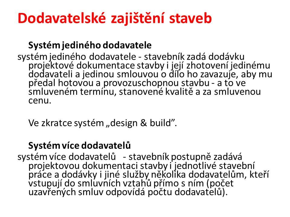 Dodavatelské zajištění staveb Systém jediného dodavatele systém jediného dodavatele - stavebník zadá dodávku projektové dokumentace stavby i její zhot