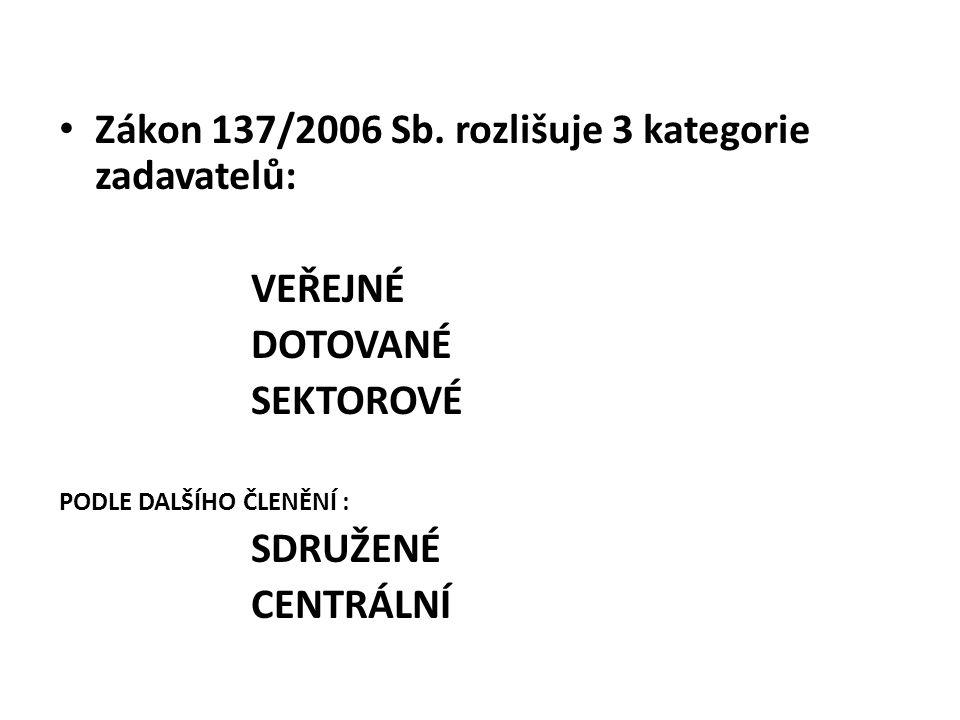 Zákon 137/2006 Sb. rozlišuje 3 kategorie zadavatelů: VEŘEJNÉ DOTOVANÉ SEKTOROVÉ PODLE DALŠÍHO ČLENĚNÍ : SDRUŽENÉ CENTRÁLNÍ