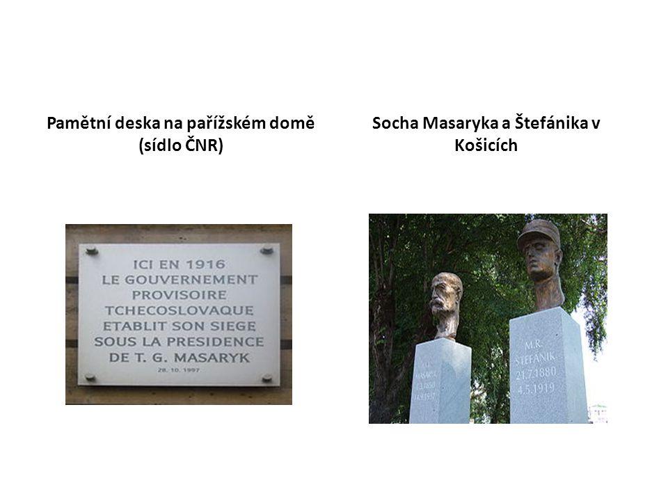 Pamětní deska na pařížském domě (sídlo ČNR) Socha Masaryka a Štefánika v Košicích