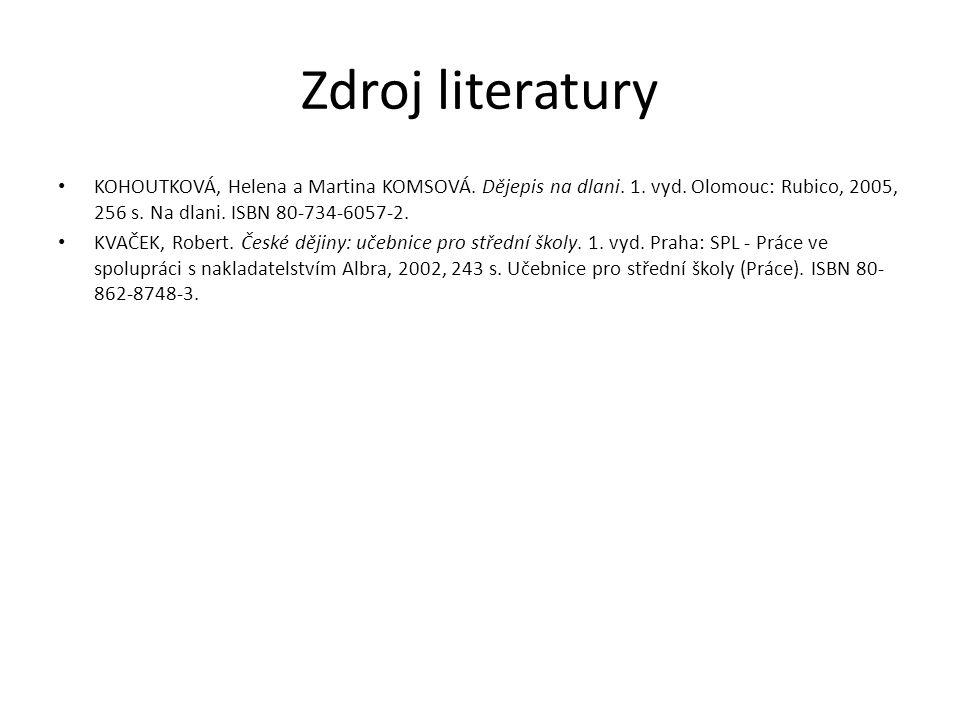 Zdroj literatury KOHOUTKOVÁ, Helena a Martina KOMSOVÁ.