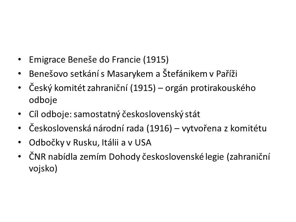 Emigrace Beneše do Francie (1915) Benešovo setkání s Masarykem a Štefánikem v Paříži Český komitét zahraniční (1915) – orgán protirakouského odboje Cí