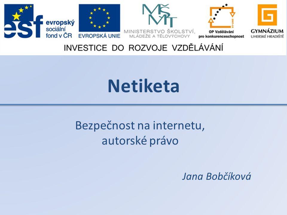 Netiketa Bezpečnost na internetu, autorské právo Jana Bobčíková