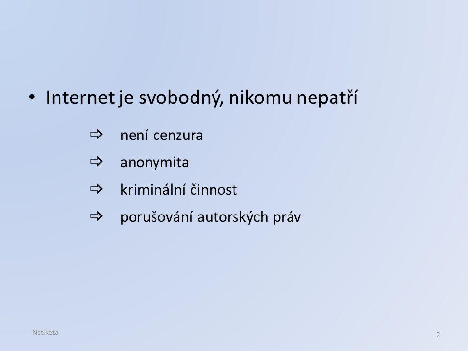 Internet je svobodný, nikomu nepatří  není cenzura  anonymita  kriminální činnost  porušování autorských práv Netiketa 2