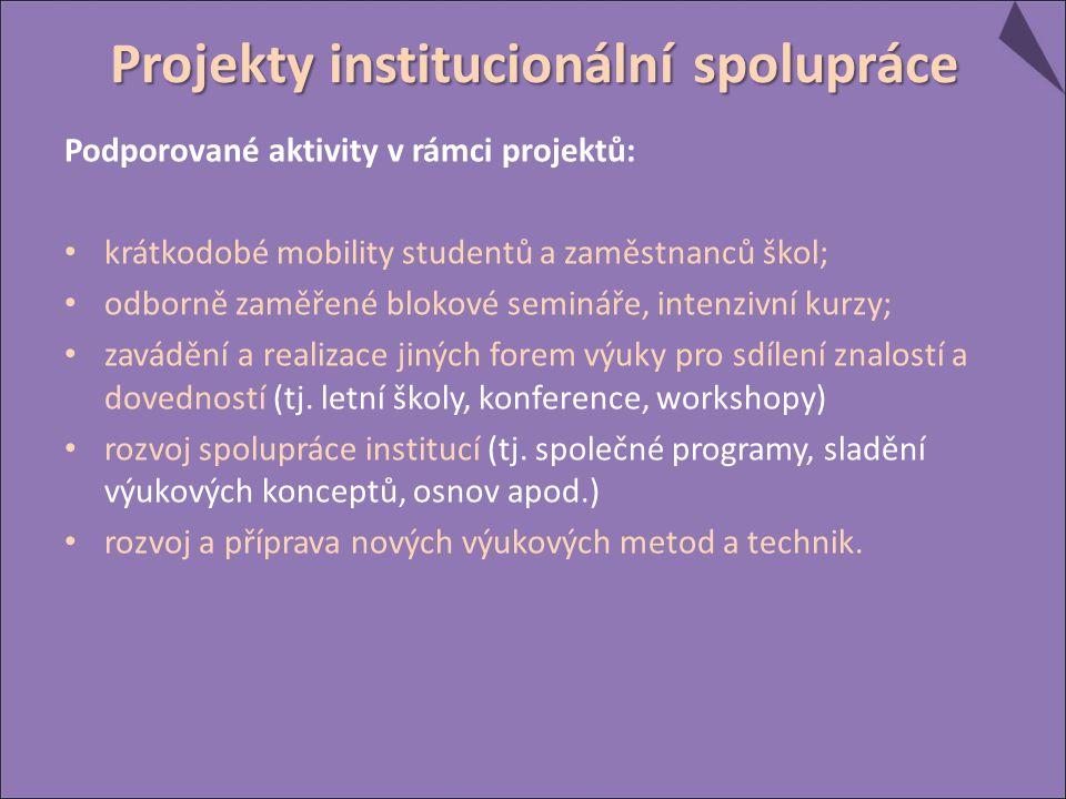 Podporované aktivity v rámci projektů: krátkodobé mobility studentů a zaměstnanců škol; odborně zaměřené blokové semináře, intenzivní kurzy; zavádění a realizace jiných forem výuky pro sdílení znalostí a dovedností (tj.