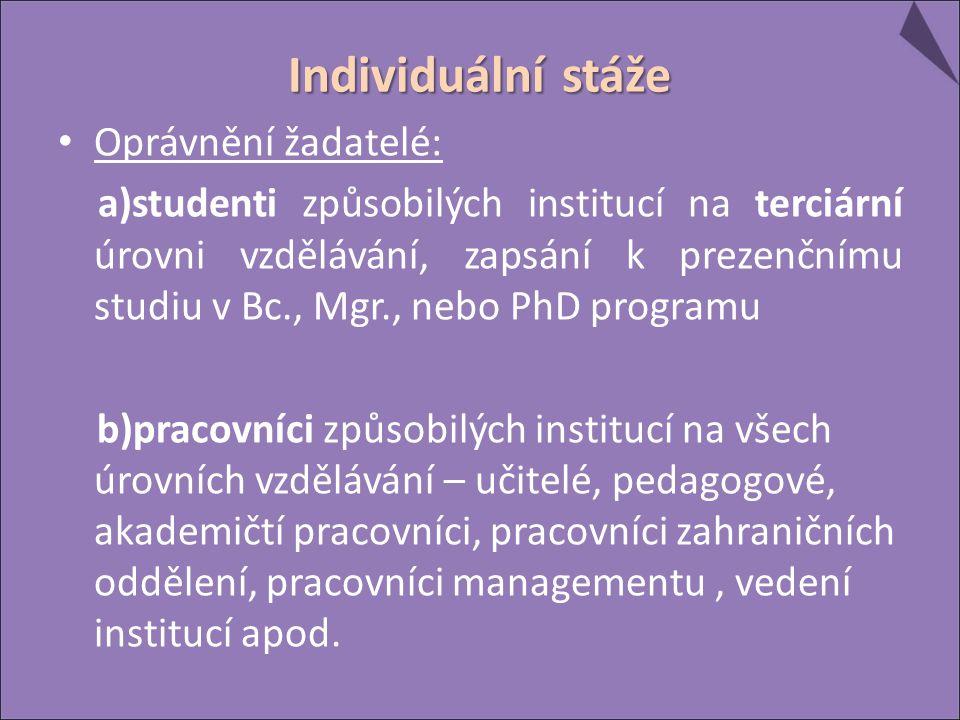 Individuální stáže Oprávnění žadatelé: a)studenti způsobilých institucí na terciární úrovni vzdělávání, zapsání k prezenčnímu studiu v Bc., Mgr., nebo PhD programu b)pracovníci způsobilých institucí na všech úrovních vzdělávání – učitelé, pedagogové, akademičtí pracovníci, pracovníci zahraničních oddělení, pracovníci managementu, vedení institucí apod.
