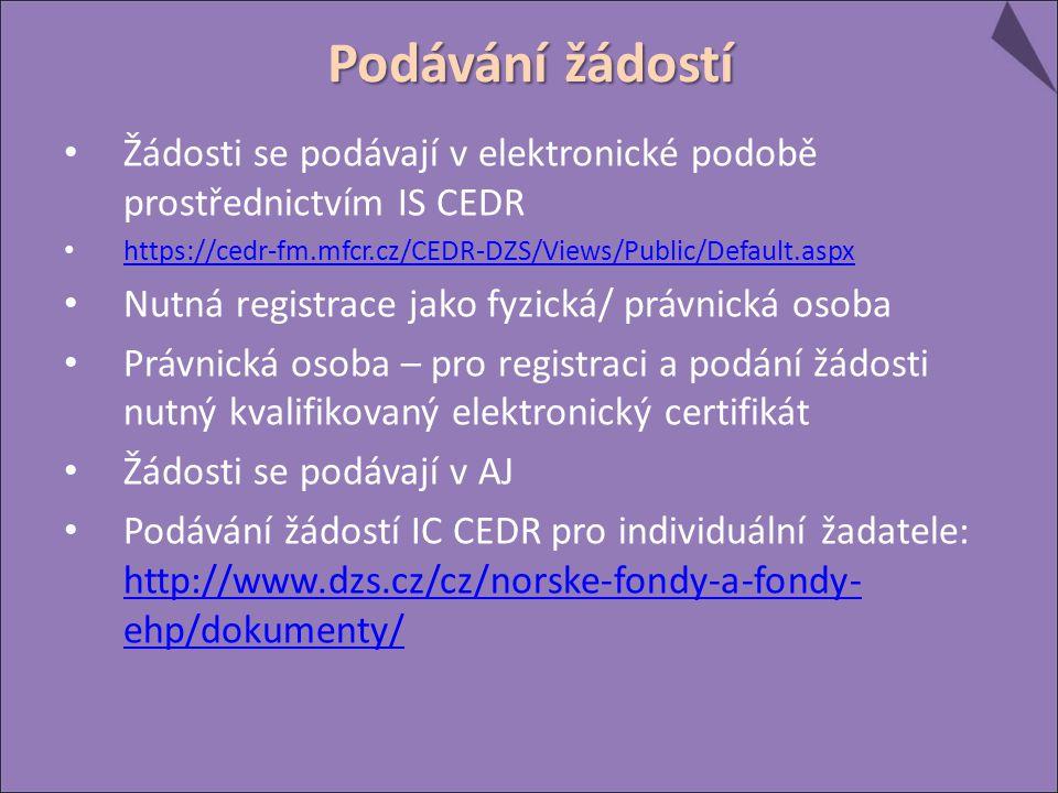 Žádosti se podávají v elektronické podobě prostřednictvím IS CEDR https://cedr-fm.mfcr.cz/CEDR-DZS/Views/Public/Default.aspx Nutná registrace jako fyzická/ právnická osoba Právnická osoba – pro registraci a podání žádosti nutný kvalifikovaný elektronický certifikát Žádosti se podávají v AJ Podávání žádostí IC CEDR pro individuální žadatele: http://www.dzs.cz/cz/norske-fondy-a-fondy- ehp/dokumenty/ http://www.dzs.cz/cz/norske-fondy-a-fondy- ehp/dokumenty/ Podávání žádostí