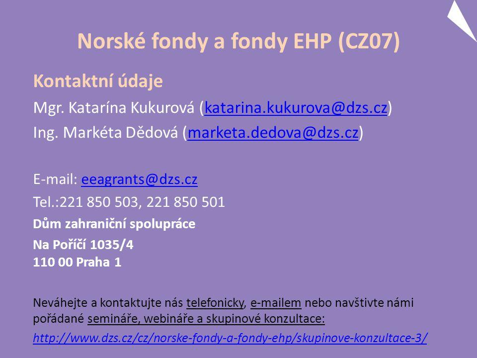 Norské fondy a fondy EHP (CZ07) Kontaktní údaje Mgr.