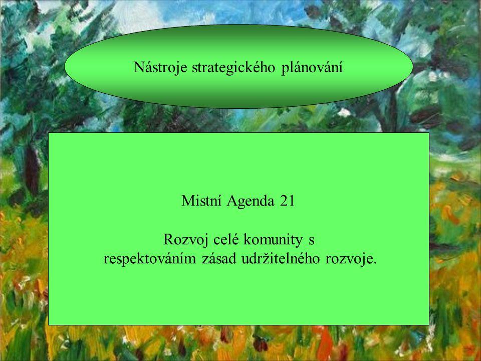 Nástroje strategického plánování Mistní Agenda 21 Rozvoj celé komunity s respektováním zásad udržitelného rozvoje.