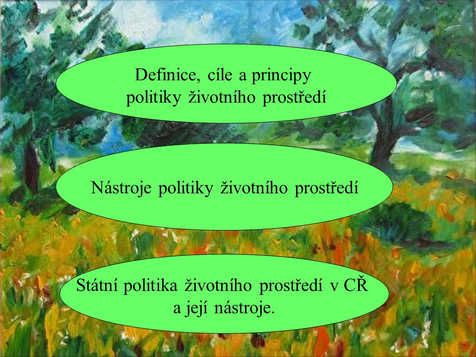 Definice, cíle a principy politiky životního prostředí Nástroje politiky životního prostředí Státní politika životního prostředí v CŘ a její nástroje.