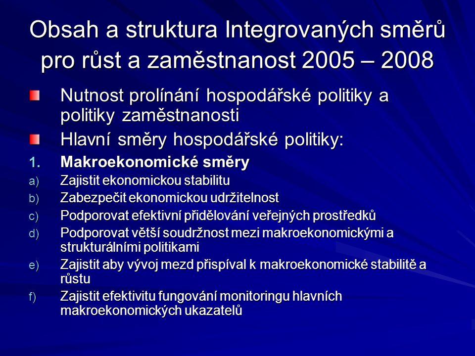 Obsah a struktura Integrovaných směrů pro růst a zaměstnanost 2005 – 2008 Nutnost prolínání hospodářské politiky a politiky zaměstnanosti Hlavní směry