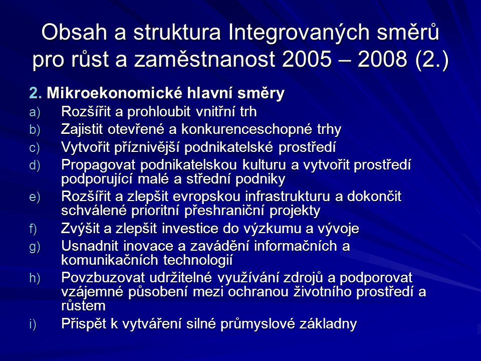 Obsah a struktura Integrovaných směrů pro růst a zaměstnanost 2005 – 2008 (2.) 2. Mikroekonomické hlavní směry a) Rozšířit a prohloubit vnitřní trh b)